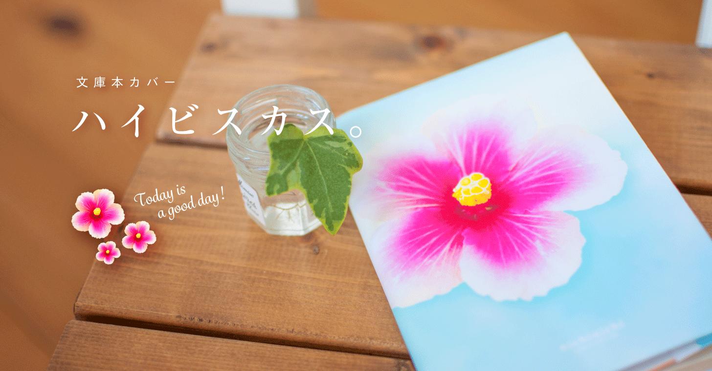 文庫本ブックカバー「ハイビスカス。Today is a good day ! 」【nichinichiオリジナル・無料ダウンロード版】