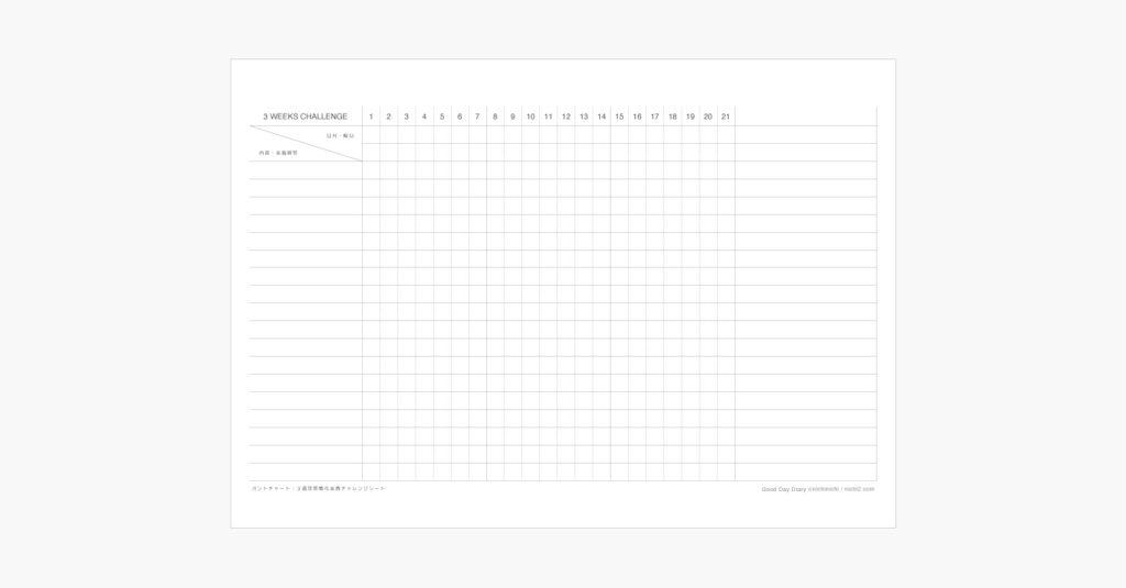 3週間習慣化チャレンジ実践シートのイメージ画像