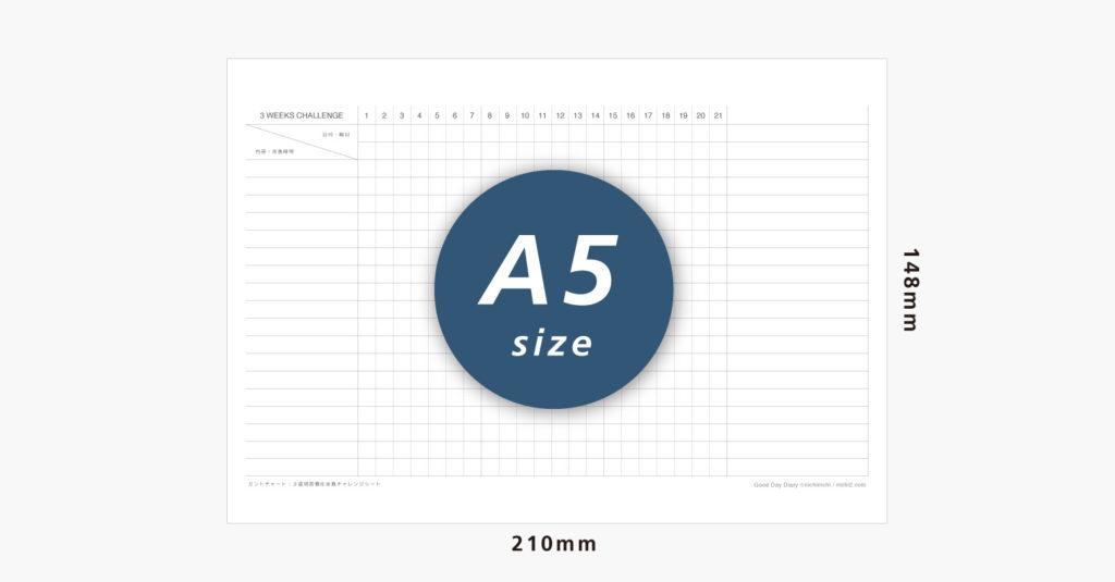 3週間習慣化実践チャレンジシートのサイズイメージ