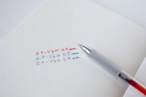 ぺんてる・エナージェル・インフリー(芯径・カラー)