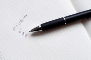 三菱鉛筆・uni・JETSTREAM3色ボールペン(文字イメージ)
