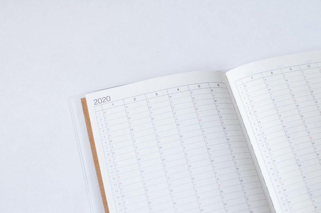 無印良品・上質紙クラフト表紙マンスリーノート・A6(年間予定表)