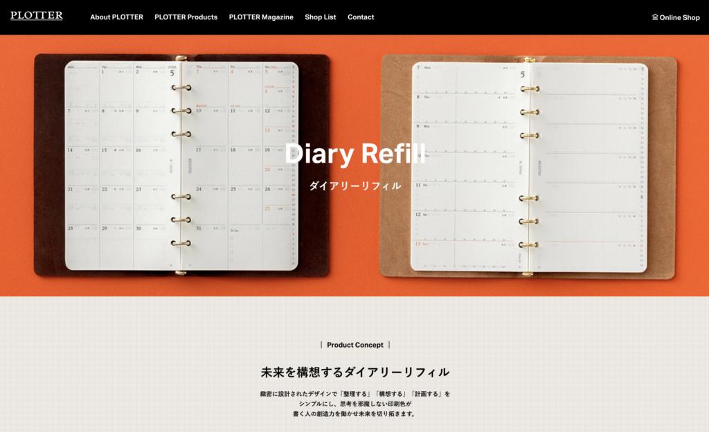 PLOTTER(プロッター)公式サイト手帳用リフィル のイメージ